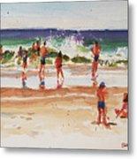 Beach Scene, Afternoon Metal Print