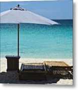 Beach Scene With Lounger And Umbrella Metal Print by Paul W Sharpe Aka Wizard of Wonders