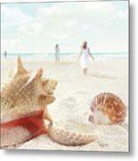 Beach Scene With People Walking And Seashells Metal Print
