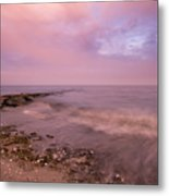 Beach Sunset In Connecticut Landscape Metal Print