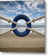 Beach Through Lifeguard Tied With Ropes Metal Print