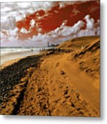 Beach Under A Blood Red Sky Metal Print