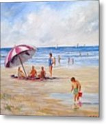 Beach With Umbrella Metal Print