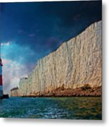 Beachy Head Lighthouse And Cliffs Metal Print