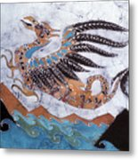 Beaked Dragon Flies Above The Sea Metal Print by Carol  Law Conklin