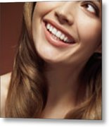Beautiful Young Smiling Woman Metal Print by Oleksiy Maksymenko