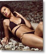 Beautiful Young Woman In Black Bikini On A Pebble Beach Metal Print by Oleksiy Maksymenko