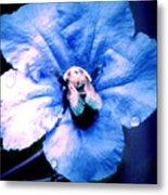 Bee On Blue Flower Metal Print