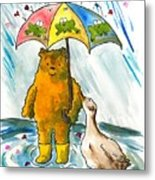 Beebs And Goosey In The Rain Metal Print