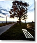 Bench And Street Light Metal Print