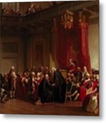 Benjamin Franklin Appearing Before The Privy Council  Metal Print by Christian Schussele