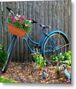 Bicycle Garden Metal Print