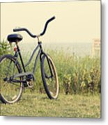 Bicycle On Beach Summer's On The Coast Metal Print