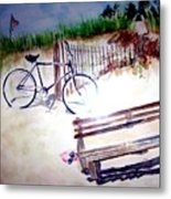 Bicycle On The Beach Metal Print