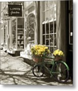 Bicycle With Flowers - Nantucket Metal Print