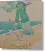Biking By The Sea Metal Print