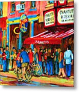 Biking Past The Deli Metal Print