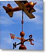 Biplane Weather Vane Metal Print by Garry Gay