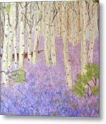 Birch Trees And Grape Hyacynths Metal Print