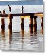 Bird Dock At Sunset Metal Print