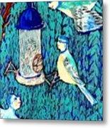 Bird People The Bluetit Family Metal Print by Sushila Burgess