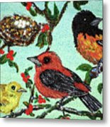 Birds By The Nest Metal Print