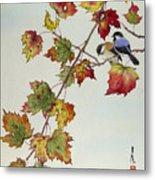 Birds On Maple Tree 4 Metal Print
