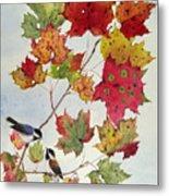 Birds On Maple Tree 6 Metal Print