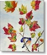 Birds On Maple Tree 8 Metal Print
