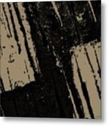 Black And Taupe Abstract Metal Print