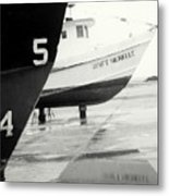 Black And White Boat Reflection Metal Print