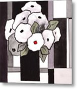 Black And White Funny Flowers Metal Print