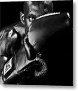 Black Boxer In Black And White 04 Metal Print by Val Black Russian Tourchin