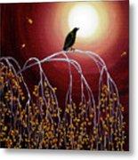 Black Crow On White Birch Branches Metal Print