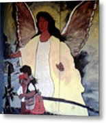 Black Guardian Angel Mural Metal Print