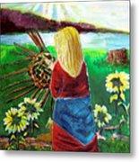 Blonde Indian Weaves Her Basket By A Lake Metal Print