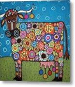 Blooming Cow Metal Print by Karla Gerard