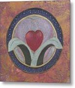 Blooming Heart Mandala Metal Print