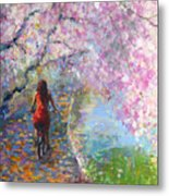 Blossom Alley Impressionistic Painting Metal Print