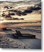 Blue And Orange Sunrise On The Beach Metal Print