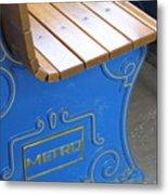 Blue Bench Metal Print