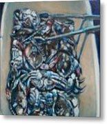 Blue Blue Crabs Metal Print by Sheila Tajima