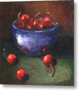 Blue Bowl And Cherries Metal Print