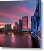 Blue Bridge Red Sky Jacksonville Skyline Metal Print by Debra and Dave Vanderlaan