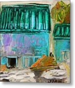 Blue Buildings Together-musing Metal Print
