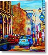 Blue Cars At The Resto Bar Metal Print