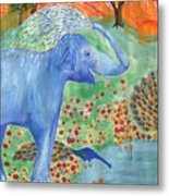 Blue Elephant Squirting Water Metal Print