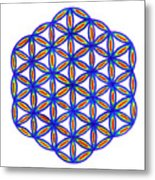 Blue Flower Of Life Metal Print