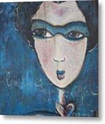 Blue Geisha Love Detail Metal Print