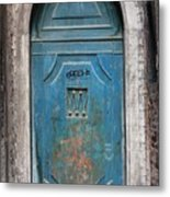 Blue Gothic Door In Venice Metal Print
